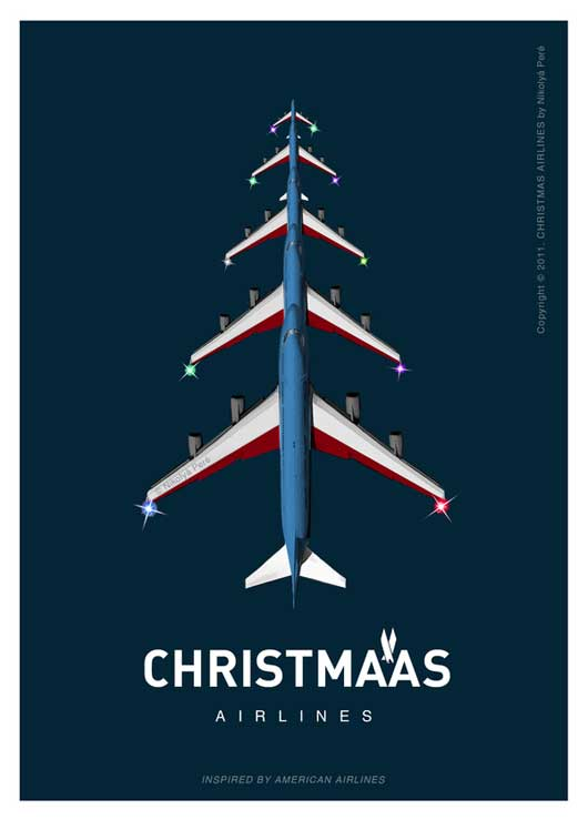Christmas-Airlines.-Postcard-Series