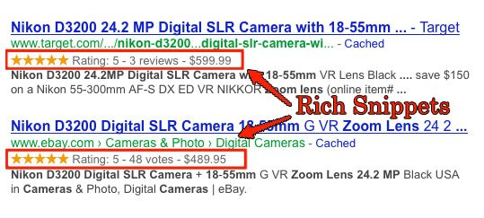 Screenshot of a rich snippets example