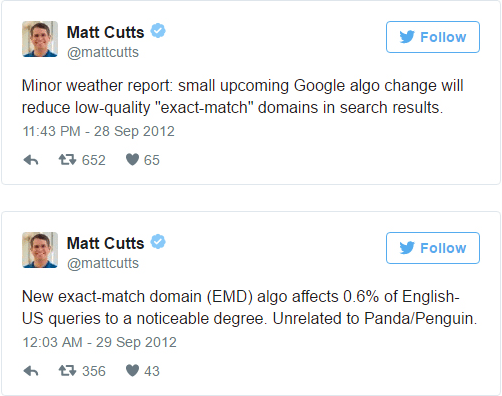 Matt Cutts at Google explains why EMDs are no longer a ranking factor