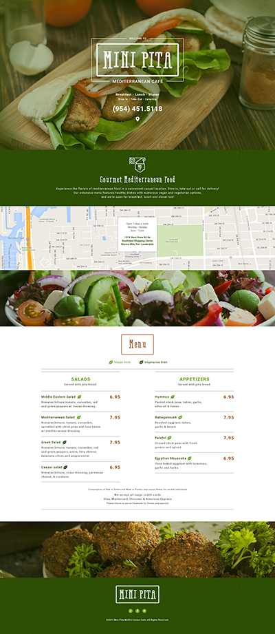 Single page website for restaurant cafe