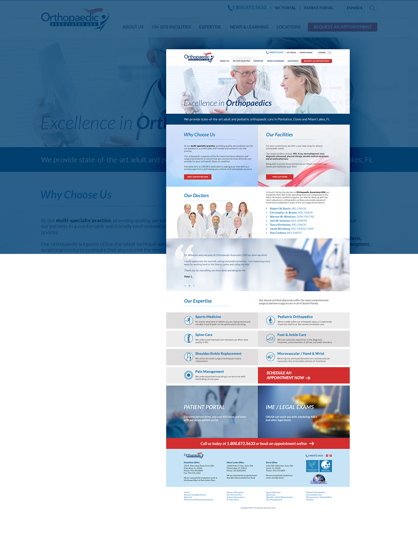 Orthopedic Associates website design
