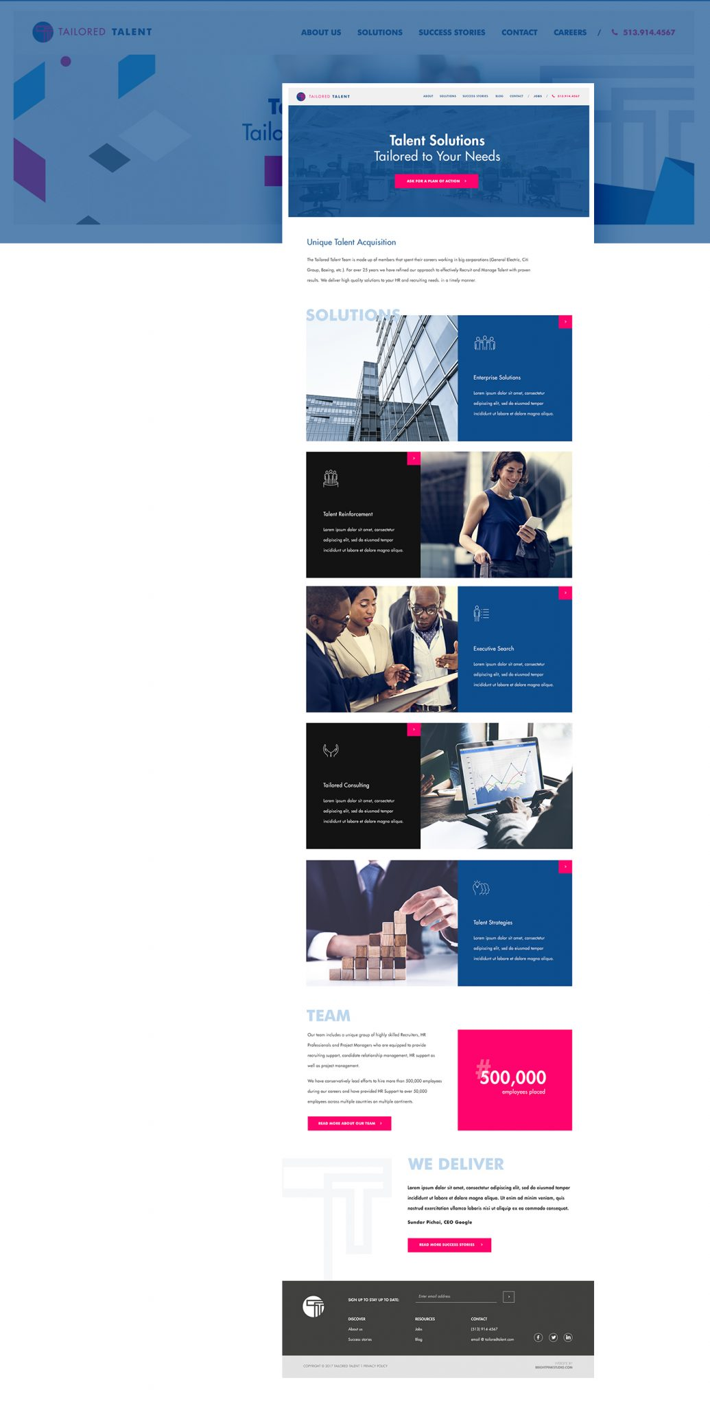 Medium service website design for Tailored Talent