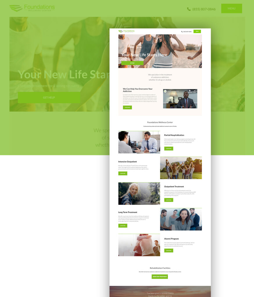 website redesign foundations wellness center