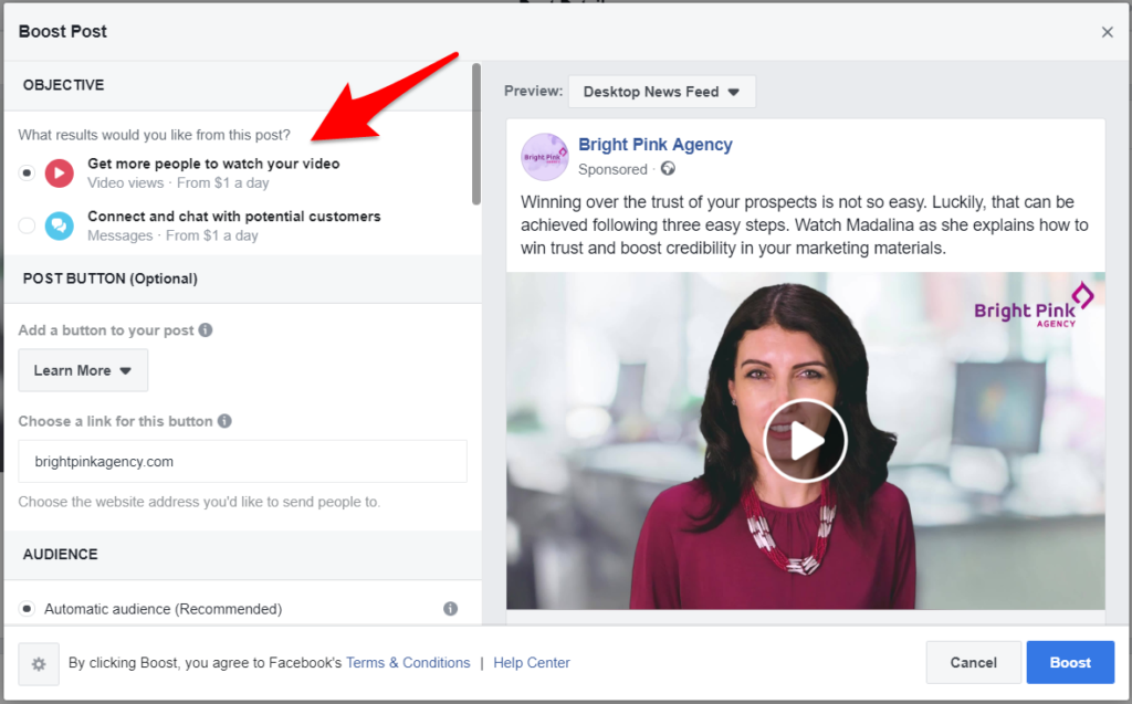 Facebook boost post objective